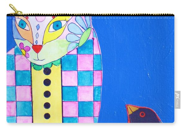 Checkered Cat Carry-all Pouch