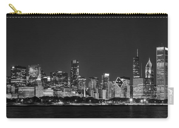 Chicago Skyline At Night Black And White Panoramic Carry-all Pouch