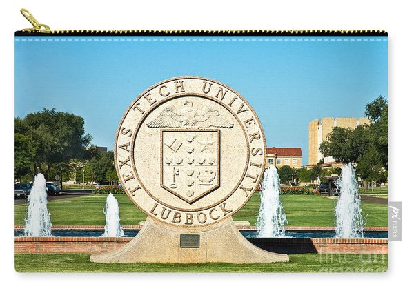 Carry-all Pouch featuring the photograph Classical Image Of The Texas Tech University Seal  by Mae Wertz