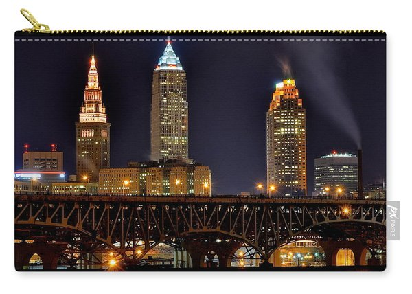 Cleveland Skyline At Night Carry-all Pouch