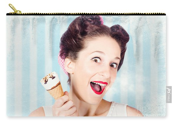 Cool Pin-up Woman In Cold Freezer With Ice-cream Carry-all Pouch