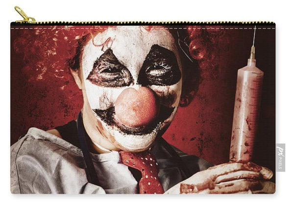 Crazy Medical Clown Holding Oversized Syringe Carry-all Pouch
