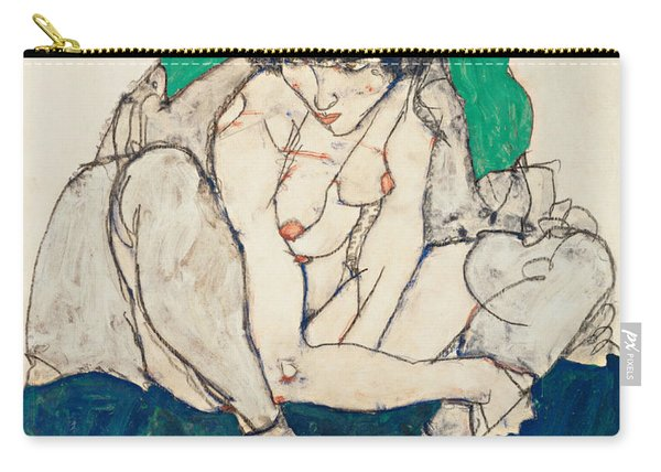 Crouching Woman With Green Headscarf Carry-all Pouch