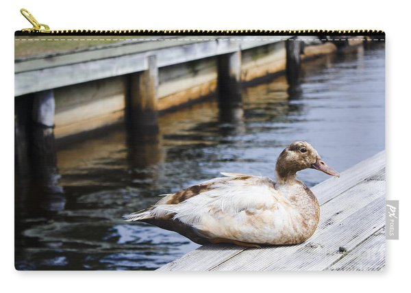 Cute Brown Duck Sitting On A Wooden Pier Carry-all Pouch
