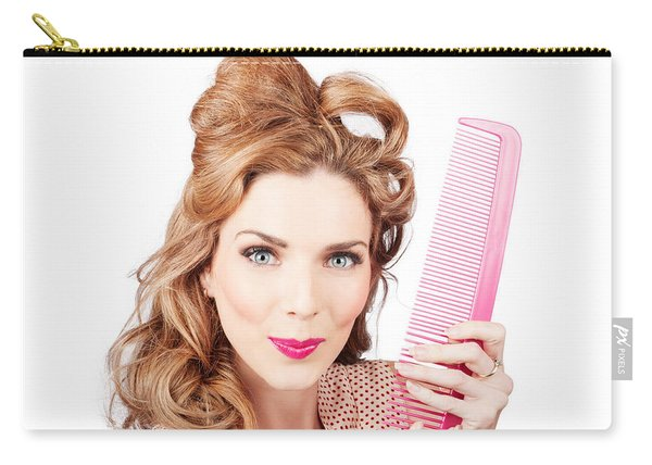 Cute Retro Female Hairdresser With Big Hair Comb Carry-all Pouch
