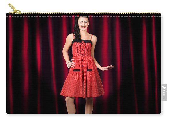 Dancing Woman Wearing Retro Rockabilly Dress  Carry-all Pouch