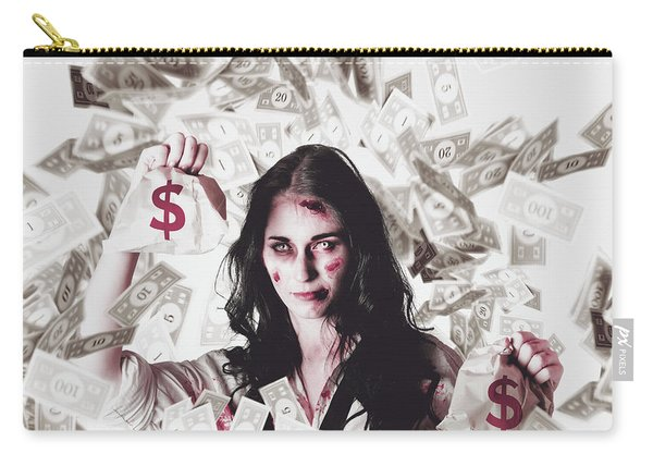Dead Business Woman In Financial Crisis Debt Carry-all Pouch