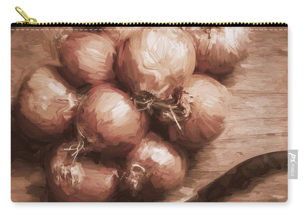 Digital Painting Of Brown Onions On Kitchen Table Carry-all Pouch