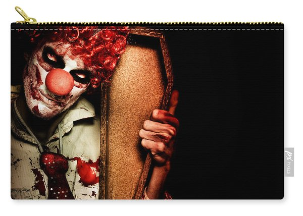 Evil Horrible Clown Holding Coffin In Darkness Carry-all Pouch