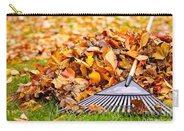 Fall Leaves With Rake Carry-all Pouch