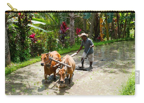 Farmer With Oxen Working In Paddy Carry-all Pouch