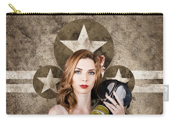 Fifties Army Pin Up Woman. Remembrance Day Carry-all Pouch