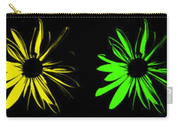 Flowers On Black Carry-all Pouch