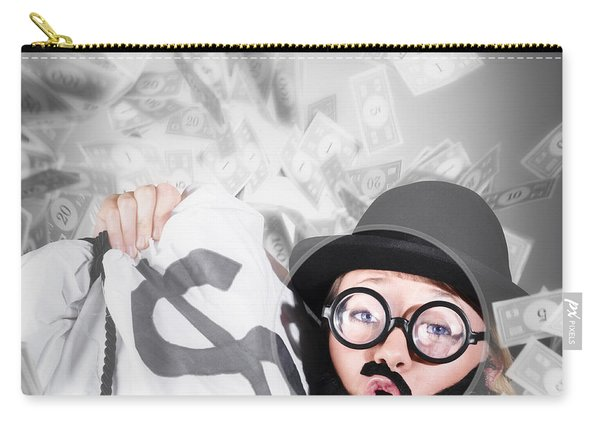 Funny Businessman With Falling Money. Success Carry-all Pouch