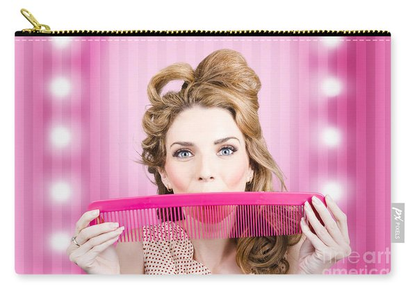 Funny Hairdresser With Cute Hairdo. Pin Up Haircut Carry-all Pouch