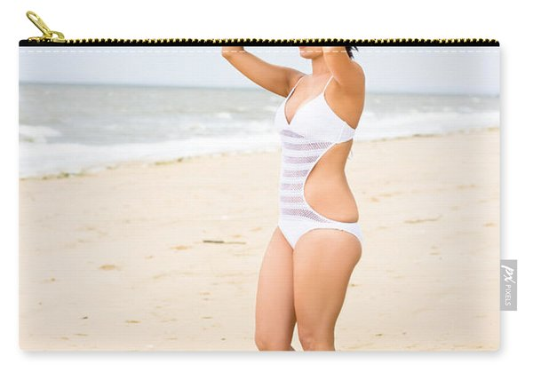 Girl Standing With Surfboard Carry-all Pouch