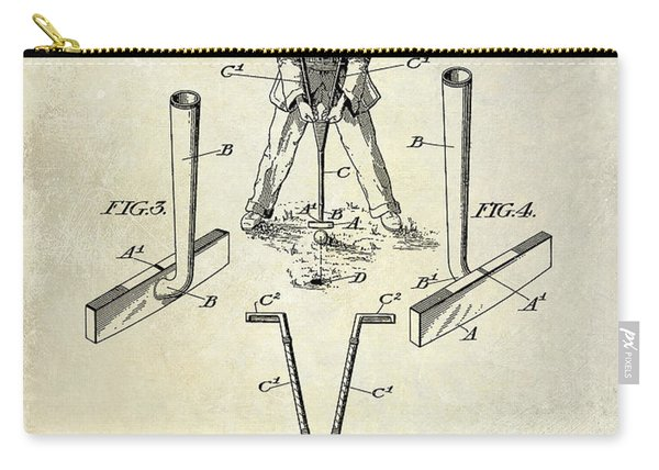 Golf Club Patent Drawing Carry-all Pouch