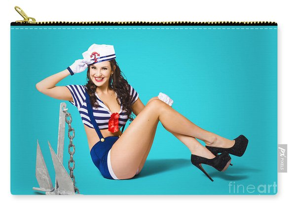 Gorgeous Pin Up Sailor Girl Wearing Hat Carry-all Pouch