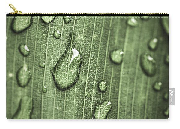 Green Leaf Abstract With Raindrops Carry-all Pouch