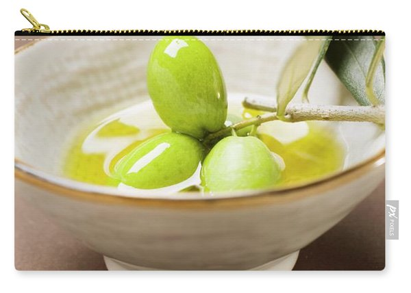 Green Olives On Twig In Bowl Of Olive Oil Carry-all Pouch
