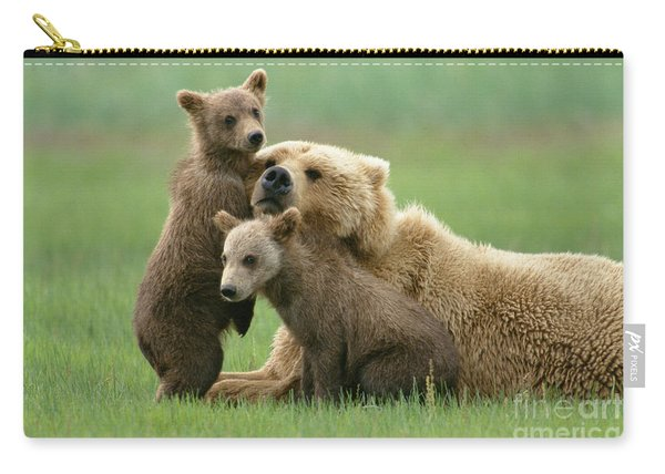 Grizzly Cubs Play With Mom Carry-all Pouch