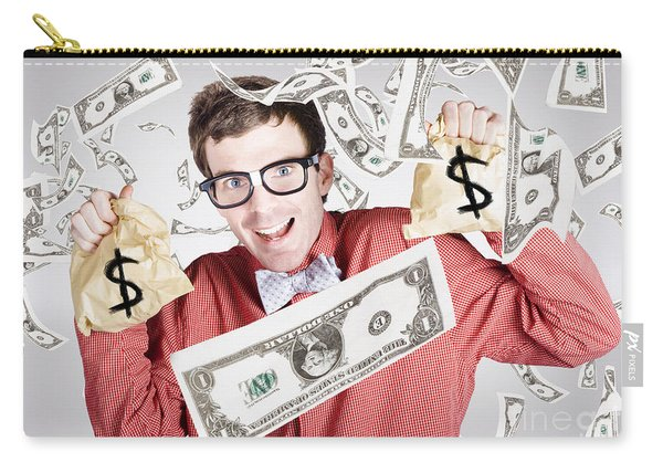 Happy Accountant Man In Rain Of Falling Money Carry-all Pouch