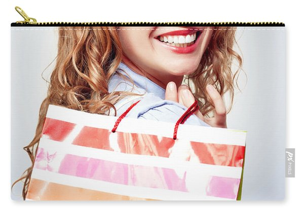 Happy Female Retail Shopper With Bag And Smile Carry-all Pouch