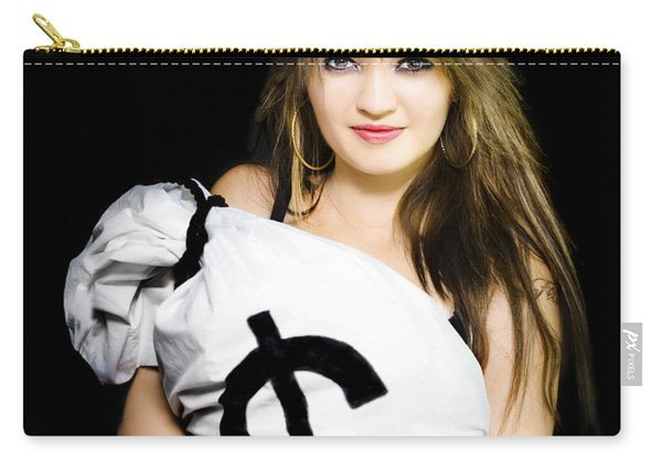 Happy Woman With A Bag Of American Dollar Bills Carry-all Pouch