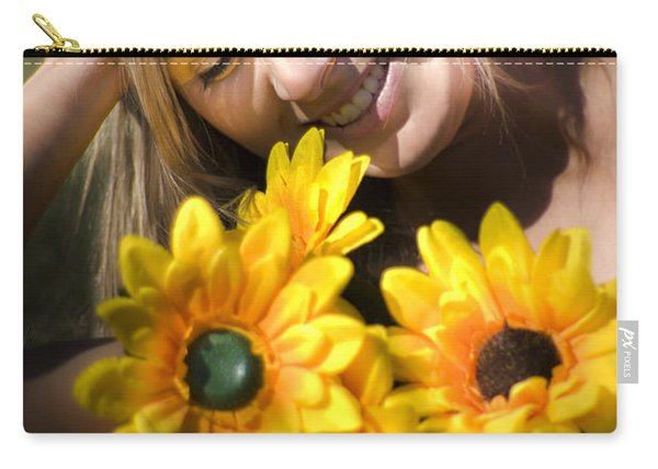 Happy Woman With Sunflowers Carry-all Pouch