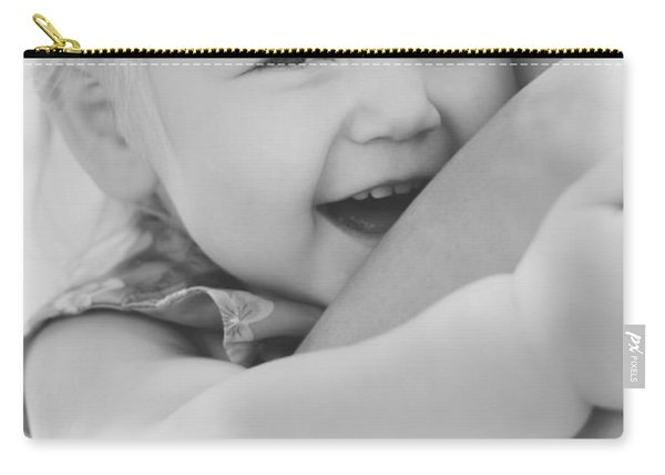Hugging Mother And Daughter In Black And White Carry-all Pouch