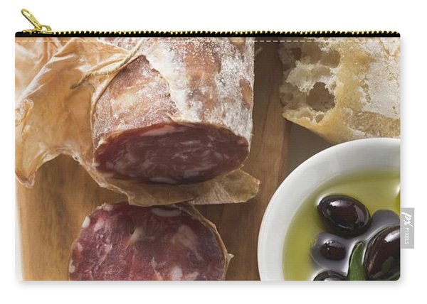Italian Salami, Olives In Olive Oil, White Bread Carry-all Pouch