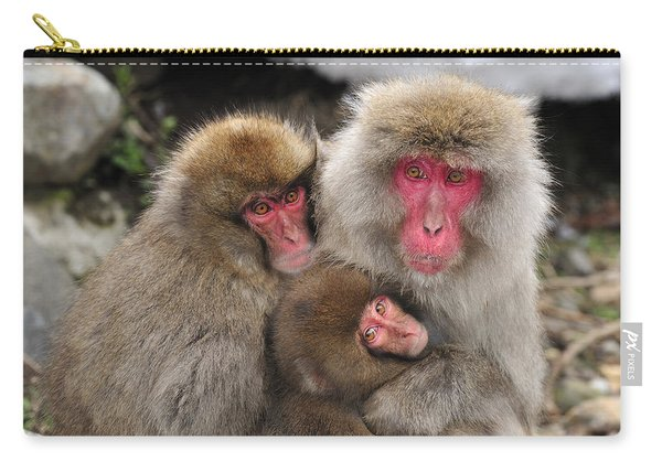 Japanese Macaque Mother With Young Carry-all Pouch