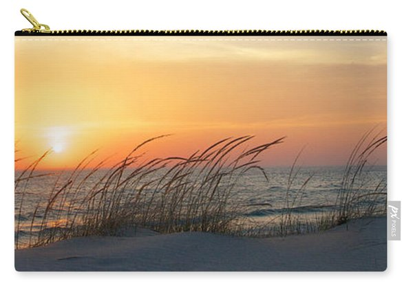 Carry-all Pouch featuring the photograph Lake Michigan Sunset Panorama by Mary Lee Dereske