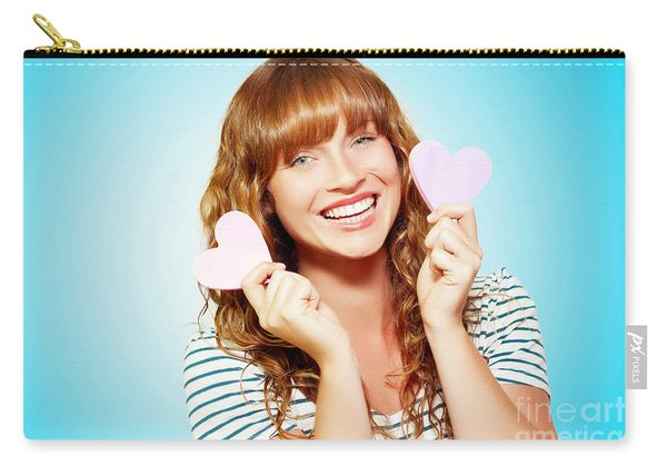 Mischievous Valentine Girl Holding Two Love Hearts Carry-all Pouch