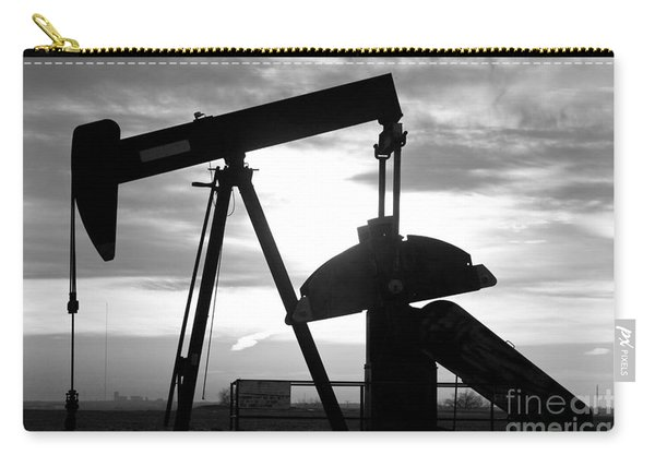 Oil Well Pump Jack Black And White Carry-all Pouch