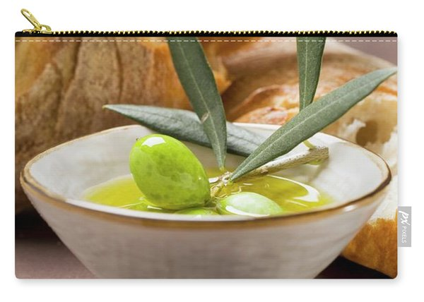 Olive Sprig With Green Olives In Bowl Of Olive Oil, White Bread Carry-all Pouch