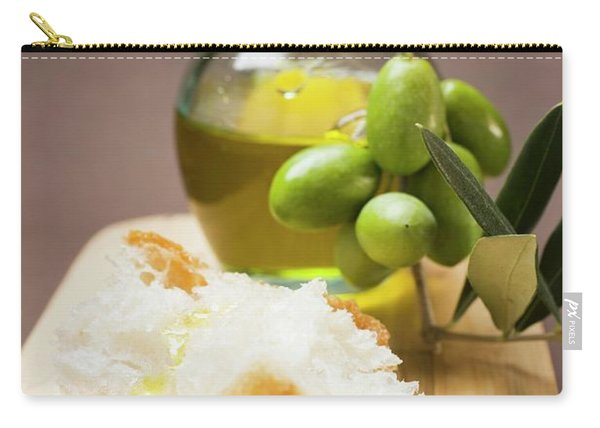Olive Sprig With Green Olives, White Bread And Olive Oil Carry-all Pouch