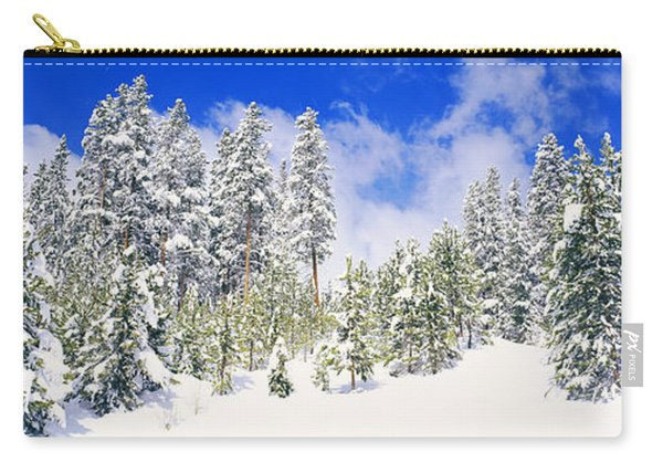 Pine Trees On A Snow Covered Hill Carry-all Pouch