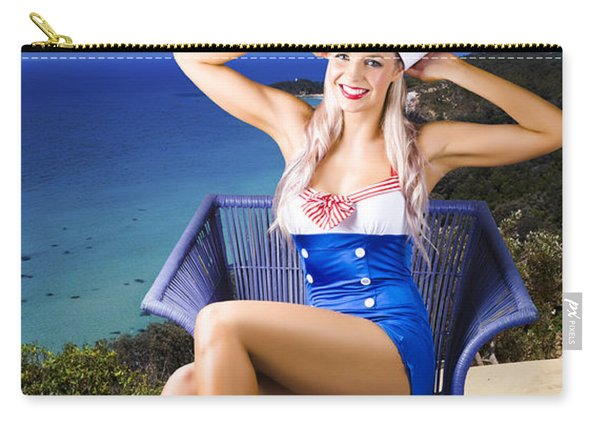 Pinup Woman On A Tropical Beach Travel Tour Carry-all Pouch