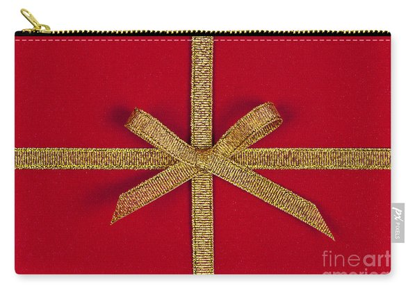 Red Gift With Gold Ribbon Carry-all Pouch