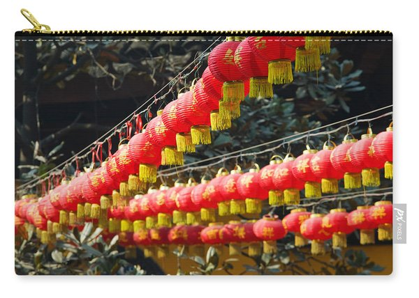 Red Lanterns At A Temple, Jade Buddha Carry-all Pouch