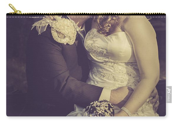 Romantic Bride And Groom Kissing Outdoors Carry-all Pouch