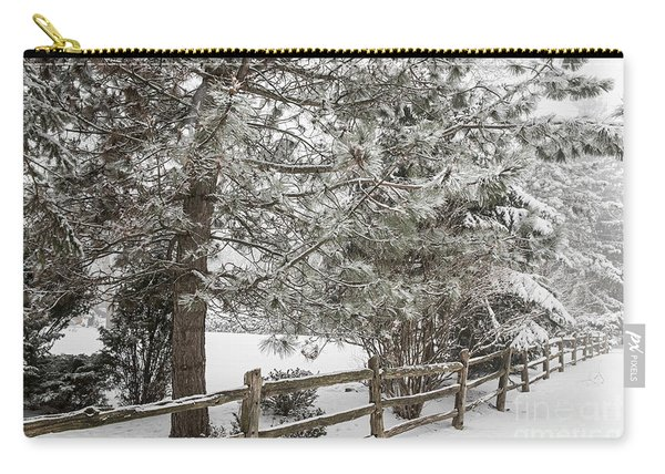 Rural Winter Scene With Fence Carry-all Pouch