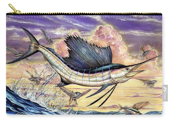 Sailfish And Flying Fish In The Sunset Carry-all Pouch