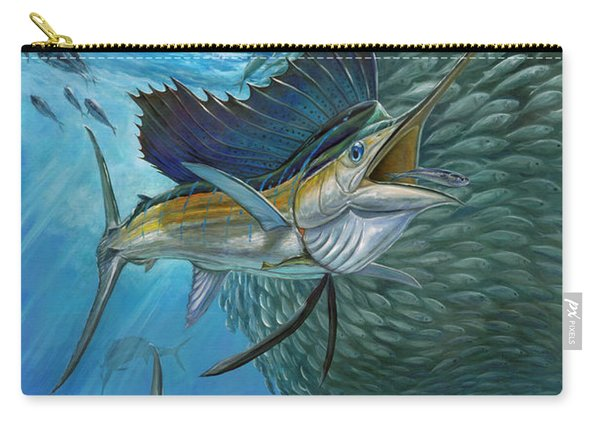 Sailfish With A Ball Of Bait Carry-all Pouch