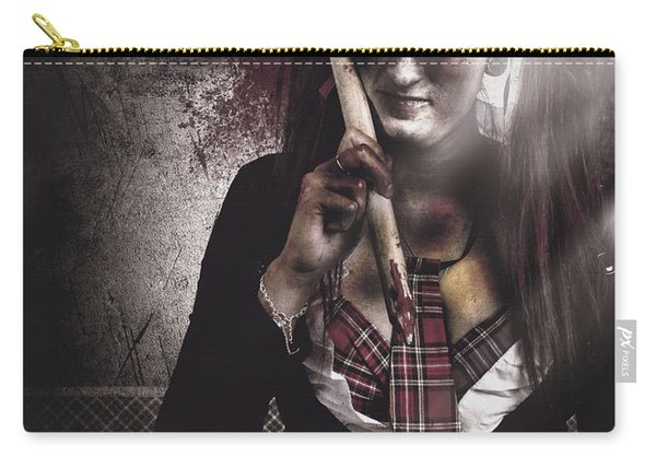Scary Zombie School Student Holding Monster Pencil Carry-all Pouch