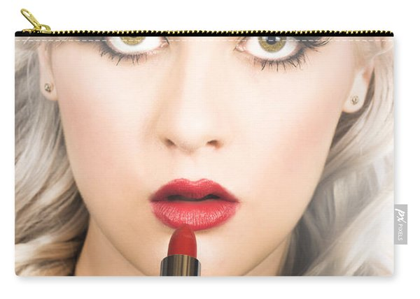 Sexy Retro Pinup Girl Applying Makeup On Lips Carry-all Pouch