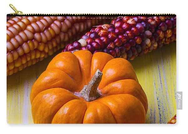 Small Pumpkin And Indian Corn Carry-all Pouch