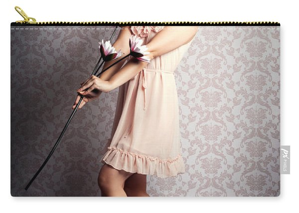 Smiling Retro Floral Girl In Elegant Pink Fashion Carry-all Pouch