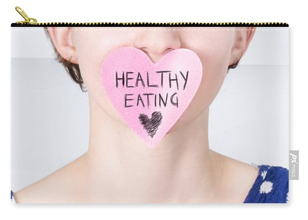 Smiling Woman With Healthy Eating Love Carry-all Pouch